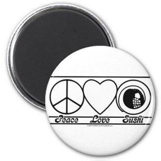 Amour et sushi de paix magnets pour réfrigérateur