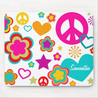 Amour et tout de paix Girly Tapis De Souris