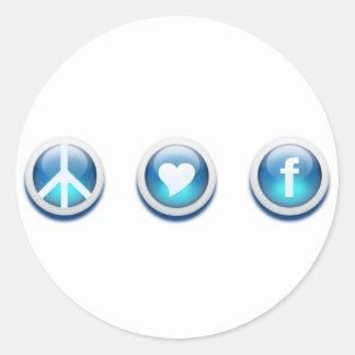 Amour Facebook de paix Adhésif Rond
