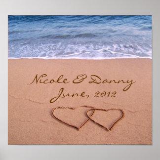 Amour fait sur commande sur l'affiche de plage ave