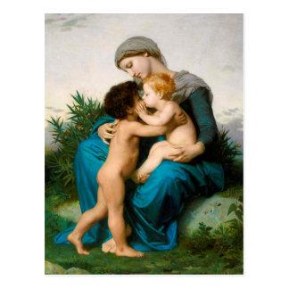 Amour fraternel, mère avec des enfants par cartes postales