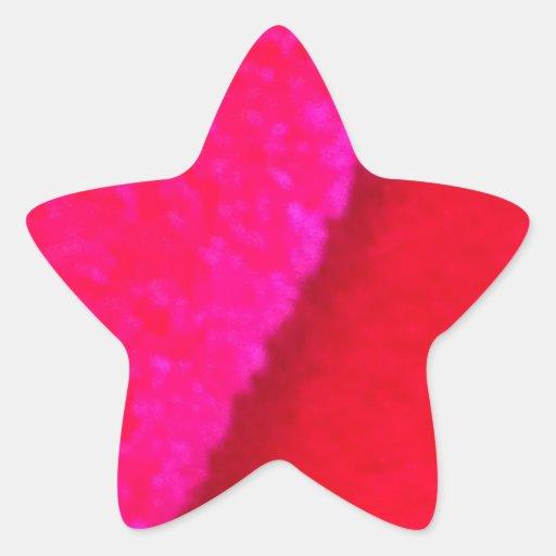 Amour génial - pelucheux mignons rouge-rose - autocollants en étoile