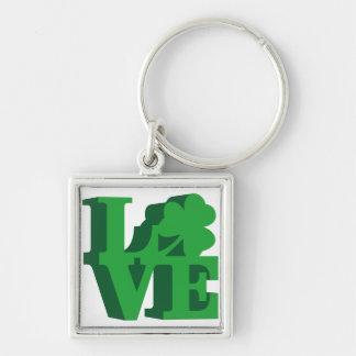 """Amour irlandais de """"Philly"""" Porte-clé Carré Argenté"""