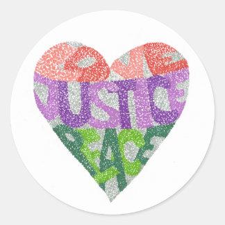 Amour, justice, paix - autocollants ronds
