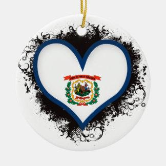Amour la Virginie Occidentale du cru I Ornement Rond En Céramique