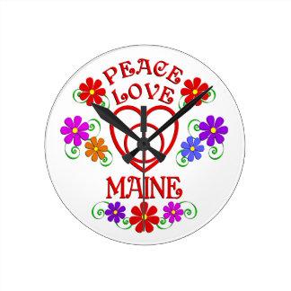 Amour Maine de paix Horloge Ronde
