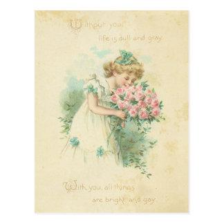 Amour mignon de roses de rose de fille de cartes postales