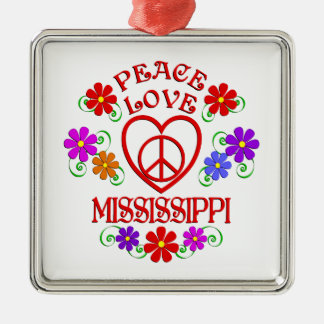 Amour Mississippi de paix Ornement Carré Argenté