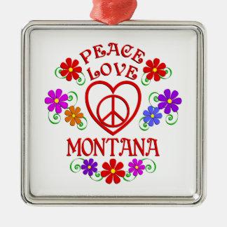 Amour Montana de paix Ornement Carré Argenté