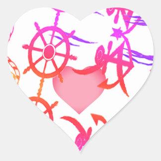 Amour nautique abstrait sticker cœur