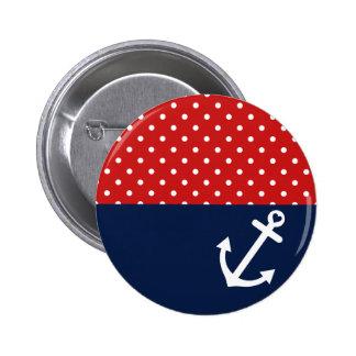 Amour nautique classique de point de polka pin's avec agrafe
