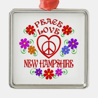 Amour New Hampshire de paix Ornement Carré Argenté