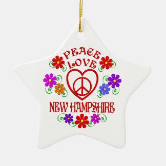 Amour New Hampshire de paix Ornement Étoile En Céramique