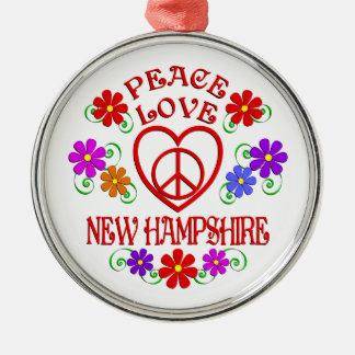Amour New Hampshire de paix Ornement Rond Argenté