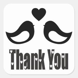 Amour noir et blanc de perruches de Merci Sticker Carré