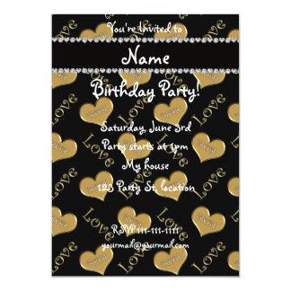 Amour noir nommé personnalisé de maman de coeurs carton d'invitation  12,7 cm x 17,78 cm