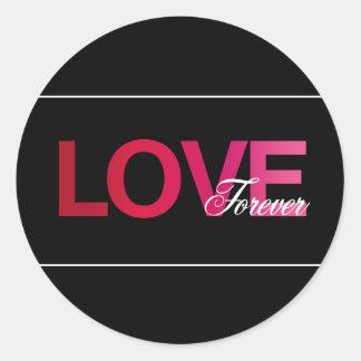 Amour noir rose épousant pour toujours des sticker rond