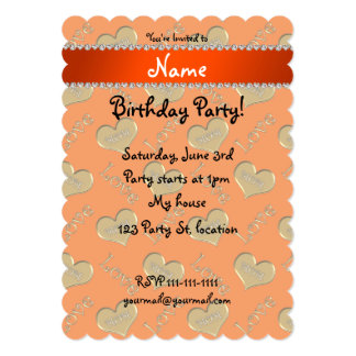 Amour orange nommé personnalisé de maman de coeurs carton d'invitation  12,7 cm x 17,78 cm