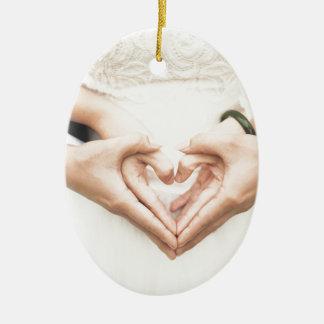 Amour Ornement Ovale En Céramique