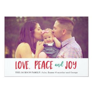 Amour, paix, carte photo de vacances de joie carton d'invitation  12,7 cm x 17,78 cm