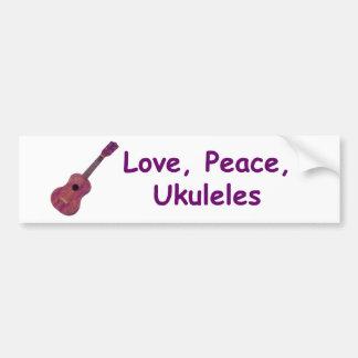Amour, paix, ukulélés autocollant de voiture