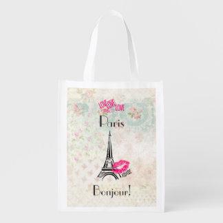 Amour Paris avec Tour Eiffel sur le motif vintage Sac Réutilisable