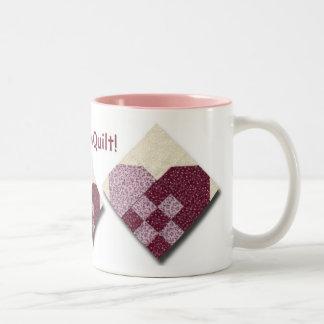 Amour piqué de coeurs à l'édredon tasse 2 couleurs