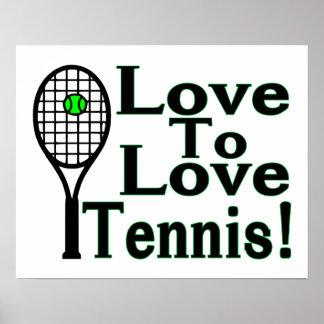 Amour pour aimer le tennis posters