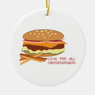 Amour pour tous les cheeseburgers ornement rond en céramique