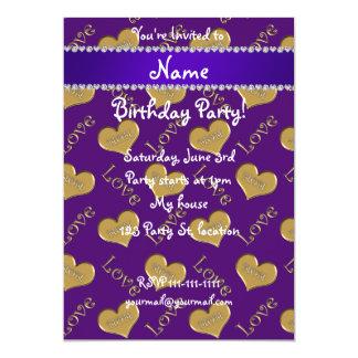 Amour pourpre nommé personnalisé de maman de carton d'invitation  12,7 cm x 17,78 cm