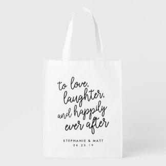 Amour, rire et faveur de épouser heureusement pour sac réutilisable