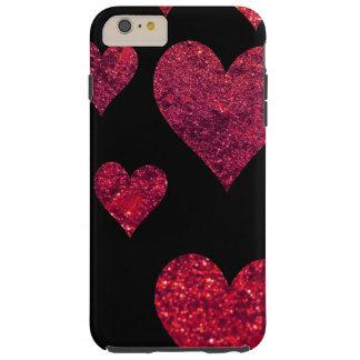 Amour, Romance, coeurs, scintillement - rouge noir Coque Tough iPhone 6 Plus