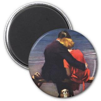 Amour romantique vintage Romance sur la plage Magnets Pour Réfrigérateur