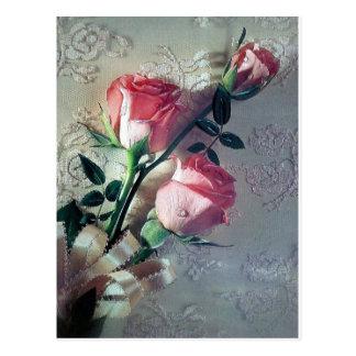 Amour rose de mariage de dentelle de roses cartes postales