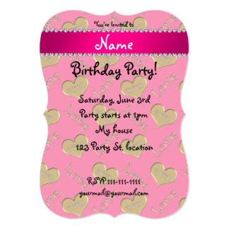 Amour rose nommé personnalisé de maman de coeurs carton d'invitation  12,7 cm x 17,78 cm