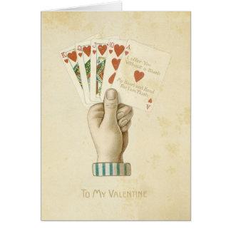 Amour rouge de coeurs de main de poker vintage de  carte de vœux