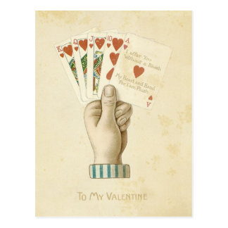 Amour rouge de coeurs de main de poker vintage de carte postale