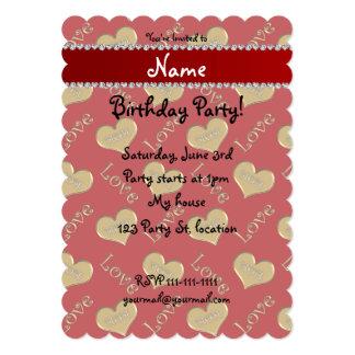 Amour rouge nommé personnalisé de maman de coeurs carton d'invitation  12,7 cm x 17,78 cm