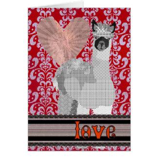 Amour rouge Valentine d'alpaga de damassé Carte De Vœux