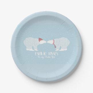 Amour scandinave d'hiver d'ours blanc de baiser assiettes en papier