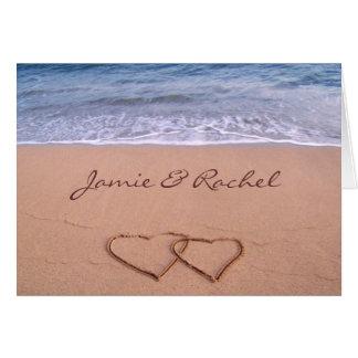 Amour sur la carte de plage
