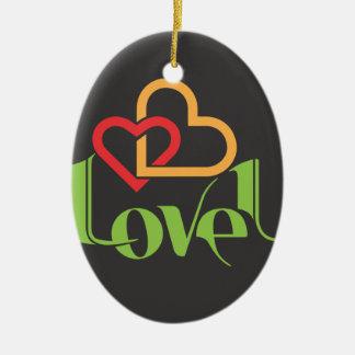 Amour u ornement ovale en céramique