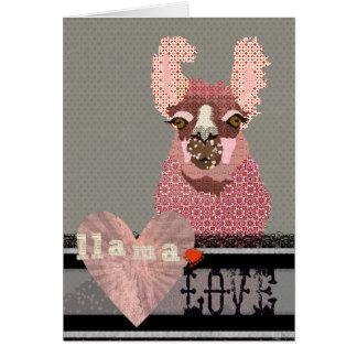Amour Valentine de lama Cartes De Vœux