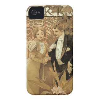 Amour vintage de Nouveau d'art Romance, flirt par Coques Case-Mate iPhone 4