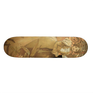 Amour vintage Romance, art Nouveau, Alphonse Mucha Skateboards Cutomisables