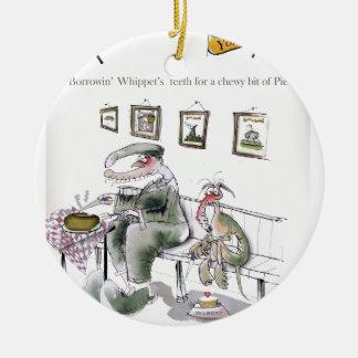 amour Yorkshire empruntant des dents de whippets Ornement Rond En Céramique