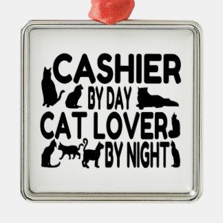 Amoureux des chats de caissier ornement carré argenté