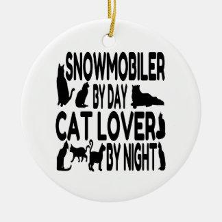 Amoureux des chats Snowmobiler Ornement Rond En Céramique