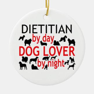 Amoureux des chiens de diététicien ornement rond en céramique