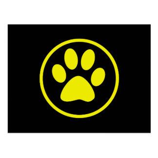 Amoureux des chiens de patte de chien jaune carte postale
